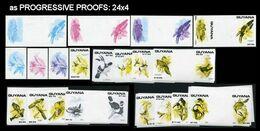 GUYANA 1990 Domestic Birds PROGRESSIVE PROOFS:27x4 (108pcs) [PRINT:25] - Guyana (1966-...)