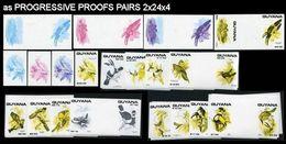 GUYANA 1990 Domestic Birds PROGRESSIVE PROOFS PAIRS:2x27x4 [PRINT:25] - Guyana (1966-...)