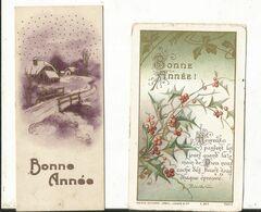 ILLUSTRATEUR MIGNONNETTE BONNE ANNEE LOT 2 CP  ART DECO 1937 VILLAGE PONT NEIGE SAPIN  HOUX MAISON BOUASSE LEBEL LECENE - Zonder Classificatie