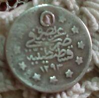 "Ottoman Empire 1293 , 1 Kurus - Abdülhamid II (""el-Ghazi"" Right Of Toughra) , Silver , Agouz - Turkey"