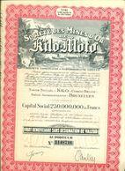 """10 Shares , 10 Actions """" SOCIETE DE MINES D' OR KILO - MOTO """". Titre Cree Apres Le 6-10-1944.  10 Actions. 16 Coupons. - Hist. Wertpapiere - Nonvaleurs"""
