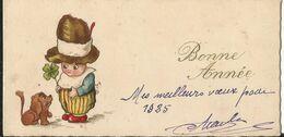 ILLUSTRATEUR   MIGNONNETTE BONNE ANNEE   ART DECO 1925 ENFANT CHIEN TECKEL DACKEL CHAPEAU TREFLE - Non Classificati