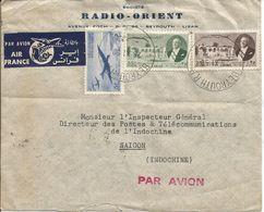 Enveloppe Par Avion De 1950 BEYROUTH RP Pour SAÏGON (société Radio Orient) - Liban