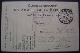 1915 Chambéry Cachet Bataillon De Chasseurs à Pied Sur Carte En Franchise  Pour Mme Balladier à Cosne D'Allier - Marcophilie (Lettres)