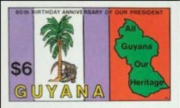 GUYANA 1983 Crocodile Palm Tree Map Trees $6 IMPERF. - Guyana (1966-...)
