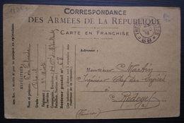 1916, Carte En Franchise S.P. 68 1e Cie De Mitrailleuses Pour Redeyef Tunisie - Marcophilie (Lettres)