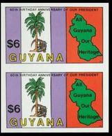 GUYANA 1983 Crocodile Palm Tree Map Trees $6 IMPERF.PAIR - Guyana (1966-...)