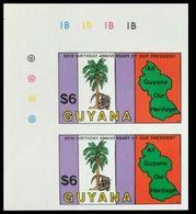 GUYANA 1983 Crocodile Palm Tree Map Reptile $6 CORNER IMPERF.PAIR - Guyana (1966-...)