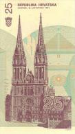 CROATIA 25 Dinara   Watermark Inverted 1991 P-19b **UNC** - Croatia