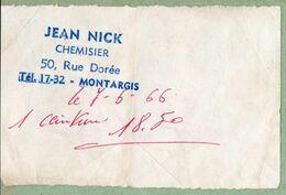 Vieux Papiers > Cachets Généralité Montargis Chemisier Jean Nick - Gebührenstempel, Impoststempel