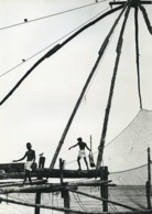 Inde Bords De Mer Portrait De Pêcheurs Filets Ancienne Photo Defossez 1970's - Ethniques, Cultures