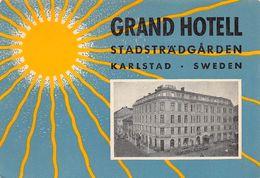 """010899 """"GRAND HOTEL - STADSTRADGARDEN - KARLSTAD - SWEDEN""""  ETICHETTA GOMMATA ORIGINALE - ORIGINAL LABEL - Etiketten Van Hotels"""
