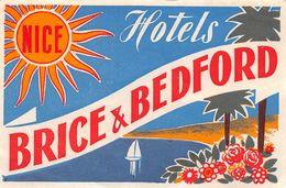 """010900 """"NICE - HOTELS BRICE & BEDFORD""""  ETICHETTA GOMMATA ORIGINALE - ORIGINAL LABEL - Etiketten Van Hotels"""