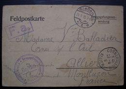 1915, Carte De Prisonnier De Guerre Du Camp De Giessen, Divers Cachets Pour Mme Balladier à Cosne Sur L'Oeil (Allier) - Marcophilie (Lettres)