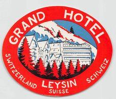 "010902 ""SUISSE - LEYSIN - GRAND HOTEL""  ETICHETTA  ORIGINALE - ORIGINAL LABEL - Etiketten Van Hotels"