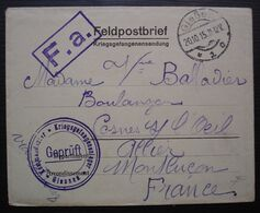1915, Enveloppe Du Camp De Prisonniers De Giessen, Divers Cachets Pour Mme Balladier à Cosne Sur L'Oeil (Allier) - Marcophilie (Lettres)