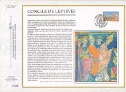 Feuillet Tirage Limité CEF 661 2491 Concile De Leptines Estinnes - Hojas