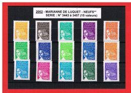 2002 - MARIANNE DE LUQUET - NEUFS** - N° 3443 à 3457 - COTE Y & T : 26.50 Euros - 1997-04 Marianne Du 14 Juillet