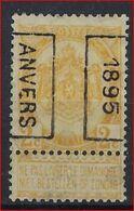 RIJKSWAPEN Nr. 54 Voorafgestempeld Nr. 29 Positie B  ANVERS 1895 En In Goede Staat ; Zie Ook Scan ! Inzet Aan 45 € ! - Voorafgestempeld