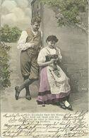 AK Liebespaar - Mann Neckt Frau Beim Stricken Mit Halm - Color 1904 #58 - Couples