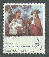 Mexico, 1992 (#2318a), Encuentro De Dos Mundos, Stamp Exhibition Spain, Painting, Malerei, Pittura, Peinture - 1v Single - Christopher Columbus