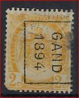 RIJKSWAPEN Nr. 54 Voorafgestempeld Nr. 10 Positie B   GAND 1894   ; Staat Zie Scan ! Inzet Aan 25 € ! - Precancels
