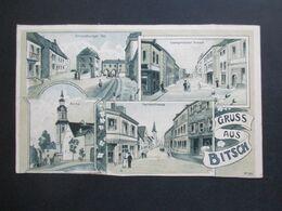 DR 1910 Elsass Mehrbildkarte Gruss Aus Bitsch Strassburger Tor, Saargemünder Strasse, Herrenstrasse Und Kirche - Gruss Aus.../ Grüsse Aus...