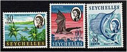 271 - SEYCHELLES 1968 - Yvert 236/38 - Palmier, Poisson, Roussette (Chauve Souris) - Neuf ** (MNH) Sans Charniere - Seychelles (...-1976)