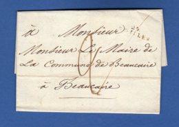FRANCE  Lettre De 1826 De St Gilles (Gard) à Beaucaire (Gard). Cachet à Fleurs De Lys Mairie De Beaucaire. Taxée 2 Décim - Marcofilia (sobres)