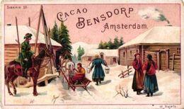 5 Tradel PUB Cards Lltho C1900 Dutch Chocolate Bensdorp SIBERIA   7x11cm  Camels Siberie Haven Harbour Rusland - Schokolade