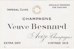 Rare Etiquette Champagne Veuve Besnard à Avize (IMPERIAL CUVEE For ENGLAND) Vintage 1919 - Champagne