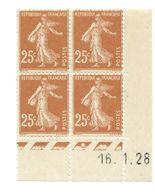 Semeuse Bloc De 4 - 25c Jaune-brun N° YT 235 - Coin Daté 16. 1. 28 - Coins Datés