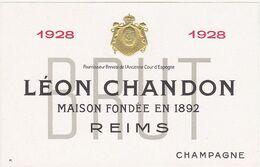 Rare Etiquette Champagne LEON CHANDON à REIMS Vintage 1928 BRUT - Champagne