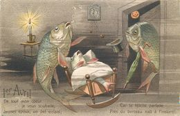 1° 1VRIL - POISSON D' AVRIL - POISSONS - CARPES HUMANISEES - CPA GAUFFREE - SELECTION - SUPERBE - April Fool's Day
