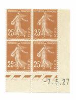 Semeuse Bloc De 4 - 25c Jaune-brun N° YT 235 - Coin Daté 7. 5. 27 - Coins Datés