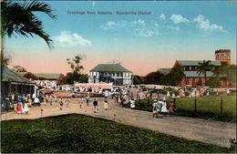! Alte Ansichtskarte Greetings From Jamaica, Mandeville Market - Jamaïque