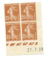 Semeuse Bloc De 4 - 25c Jaune-brun N° YT 235 - Coin Daté 27. 7. 28 - Coins Datés
