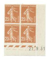 Semeuse Bloc De 4 - 25c Jaune-brun N° YT 235 - Coin Daté 21. 9. 31 - 1930-1939