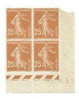 Semeuse Bloc De 4 - 25c Jaune-brun N° YT 235 - Coin Daté 5. 9. 31 - 1930-1939