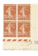 Semeuse Bloc De 4 - 25c Jaune-brun N° YT 235 - Coin Daté 1. 3. 32 - 1930-1939