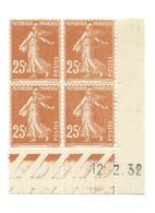 Semeuse Bloc De 4 - 25c Jaune-brun N° YT 235 - Coin Daté 12. 2. 32 - 1930-1939