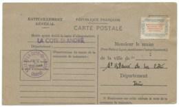 CARTE DE RAVITAILLEMENT GENERAL 1946 / LA COTE ST ANDRE ISERE - Marcophilie (Lettres)