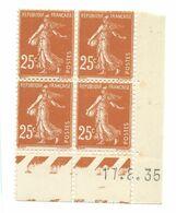 Semeuse Bloc De 4 - 25c Jaune-brun N° YT 235 - Coin Daté 17. 8. 35 - 1930-1939