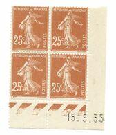 Semeuse Bloc De 4 - 25c Jaune-brun N° YT 235 - Coin Daté 15. 5. 35 - 1930-1939