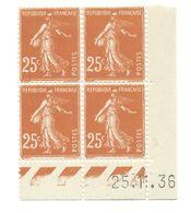 Semeuse Bloc De 4 - 25c Jaune-brun N° YT 235 - Coin Daté 25. 1. 36 - 1930-1939