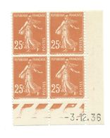 Semeuse Bloc De 4 - 25c Jaune-brun N° YT 235 - Coin Daté 3. 12. 36 - 1930-1939