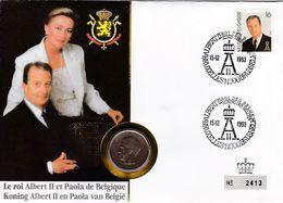 2 Scans Enveloppe Numérotée 2532 Roi Albert II Reine Paola Pièce De Monnaie 20 Francs Belges - Numisletters