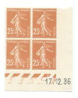Semeuse Bloc De 4 - 25c Jaune-brun N° YT 235 - Coin Daté 17. 12. 36 - 1930-1939