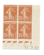 Semeuse Bloc De 4 - 25c Jaune-brun N° YT 235 - Coin Daté 17. 2. 37 - 1930-1939
