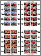 CENTRALAFRICA 2020 MNH Fire Engines Feuerwehr Fahrzeuge Camions De Pompiers M/S - OFFICIAL ISSUE - DHQ2031 - Pompieri